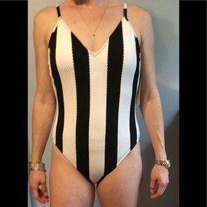 NWT Black and White Striped Swimsuit